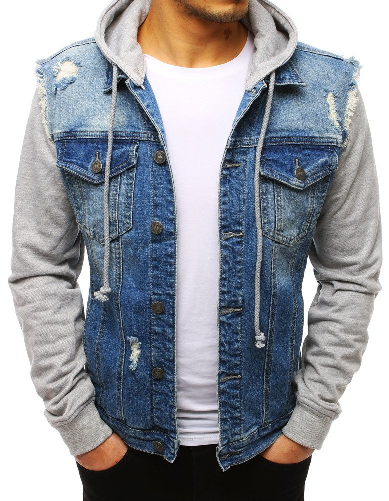 Kombinovaná pánska džínsová bunda (tx2644)