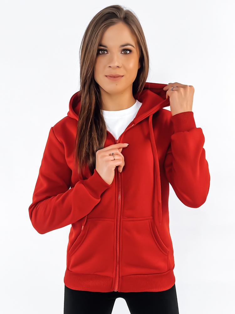 Bluza damska rozpinana z kapturem czerwona BY0226