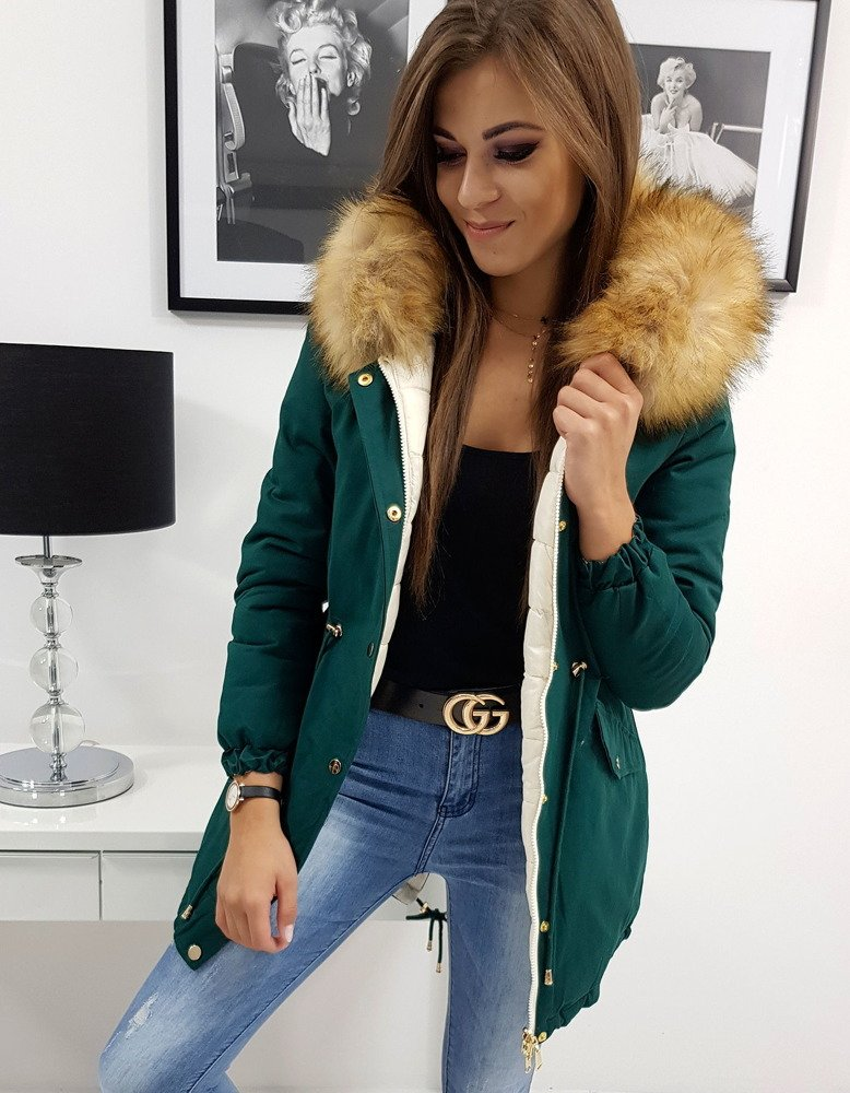 Dámska obojstranná zimná bunda  zelená