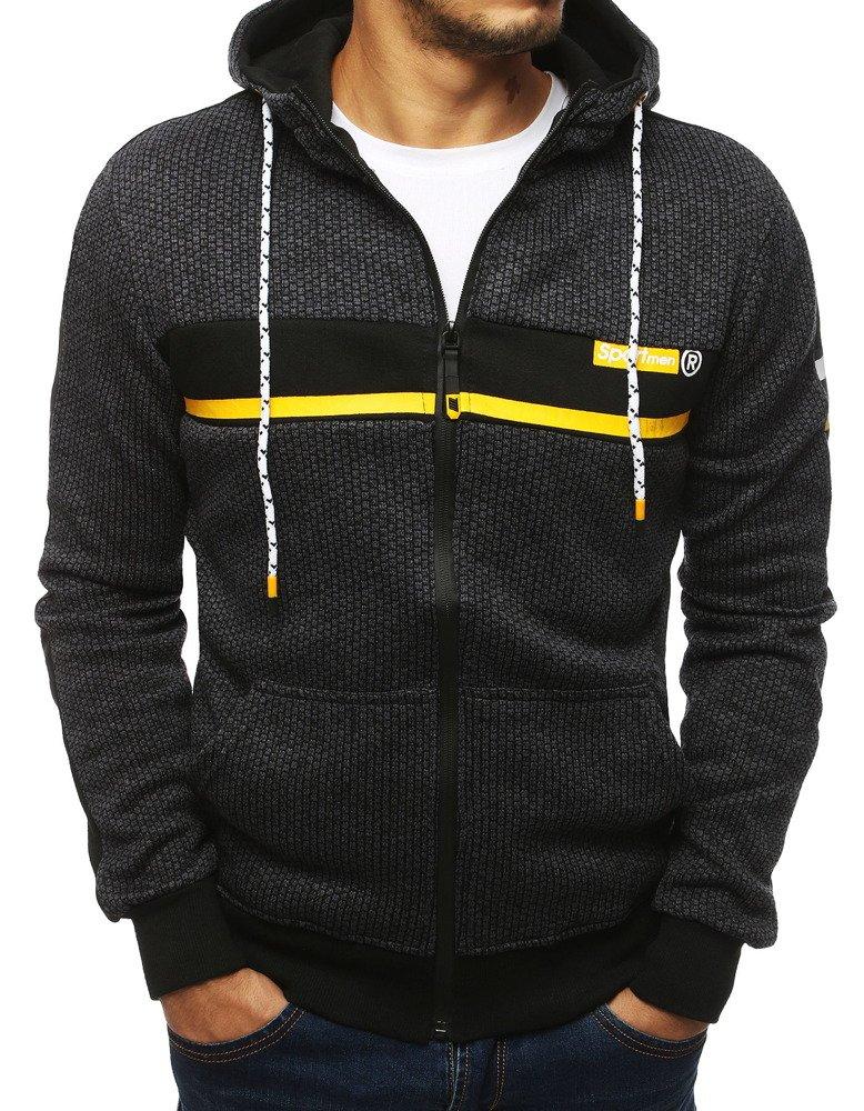 Bluza męska rozpinana z kapturem antracytowa BX4121