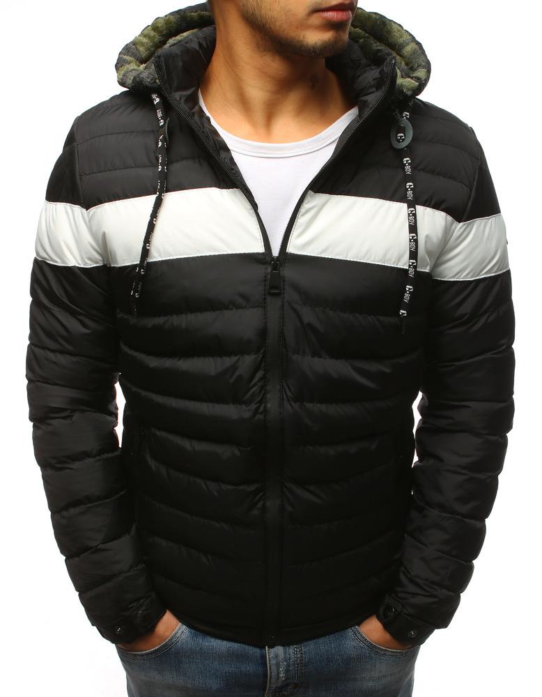 Čierna trendová zimná bunda pre pánov (tx2393)