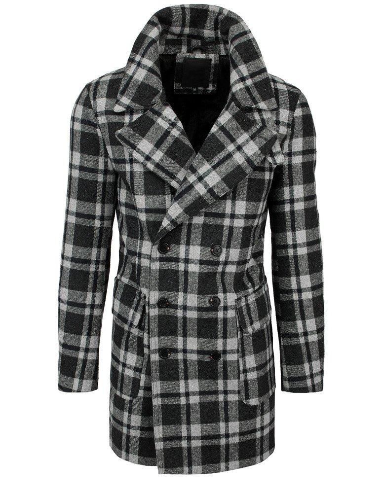 Pánsky šedý károvaný kabát