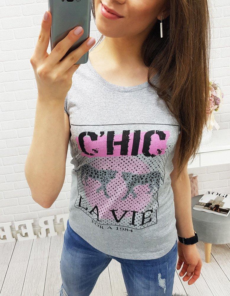 T-shirt damski C'HIC z nadrukiem szary (ry0322)