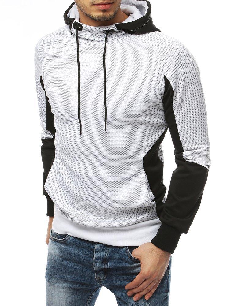 Bluza męska z kapturem biała BX4366