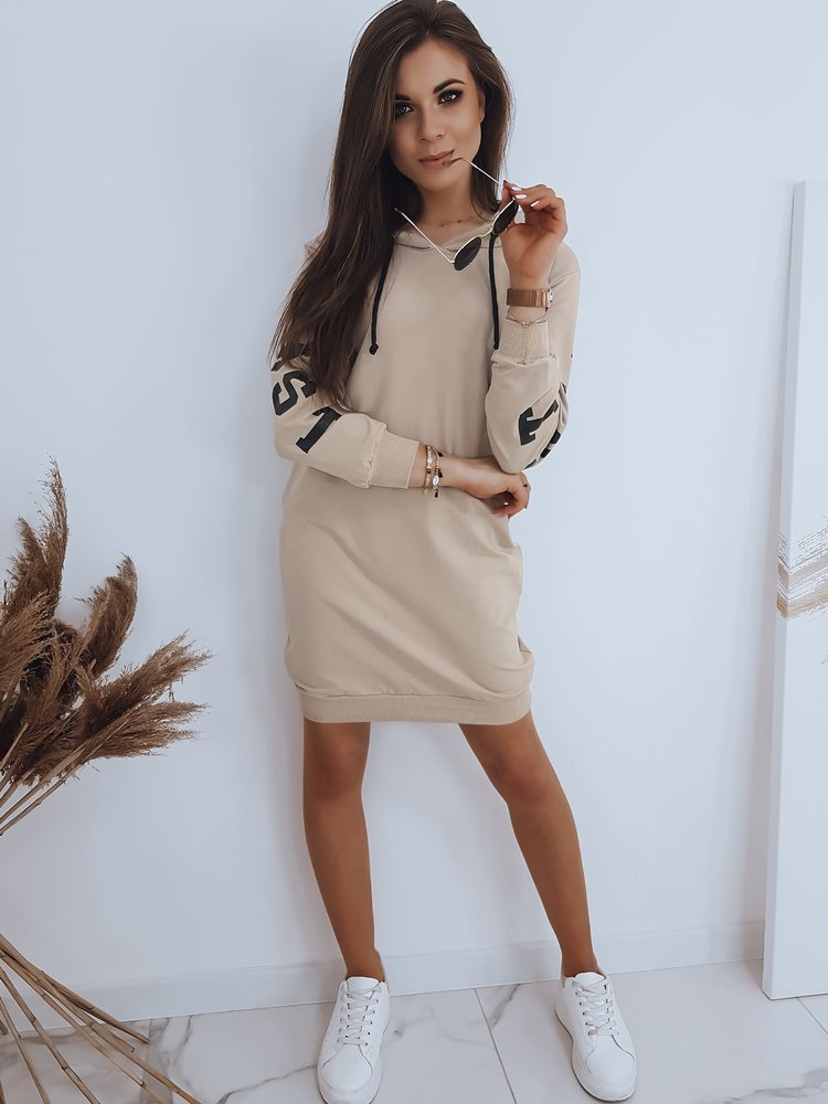 Bluza damska OVER LONG beżowa BY0403