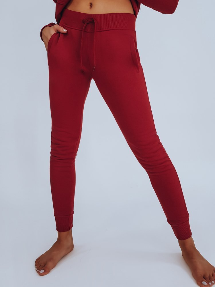 Spodnie damskie dresowe FITT bordowe UY0206