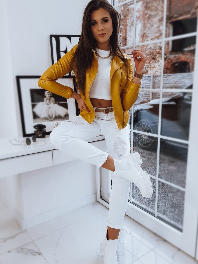 Dámska žltá koženková bunda FEELS.