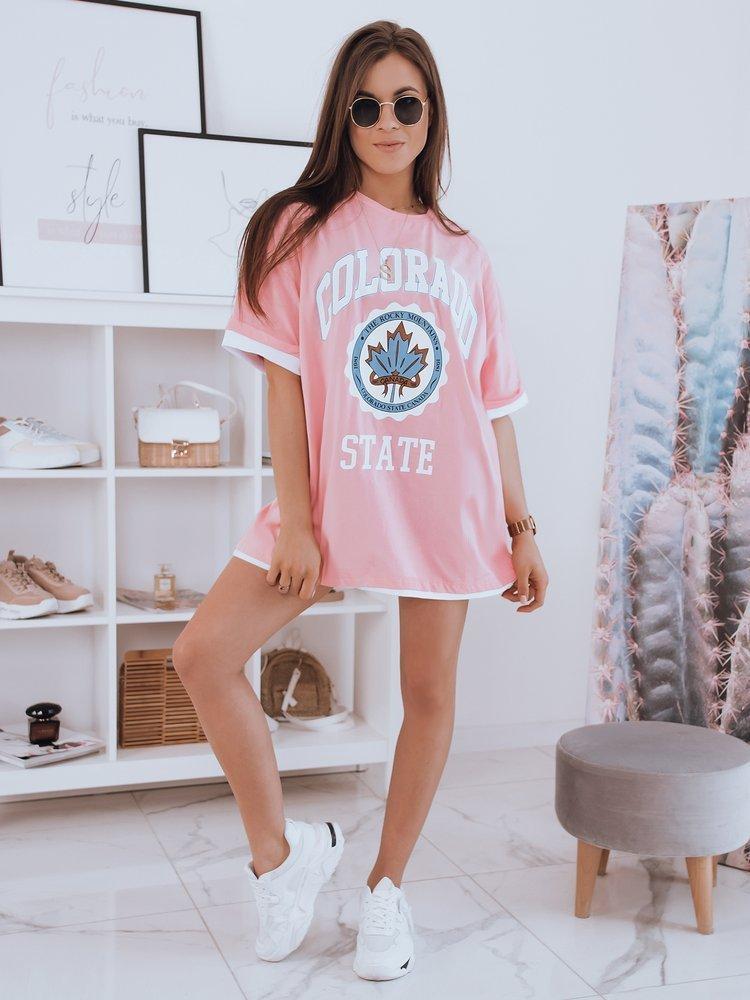 T-shirt damski oversize COLORADO różowy Dstreet RY1716