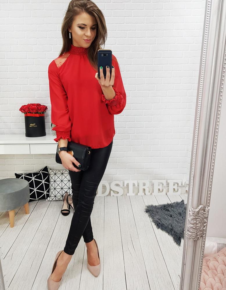 Czerwona bluzka damska CASPE (ry0592)