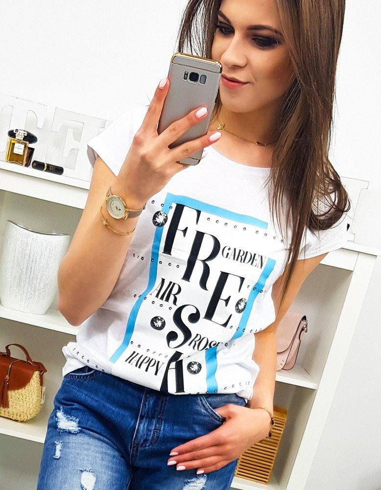 T-shirt damski FRESH z nadrukiem biały (ry0897)