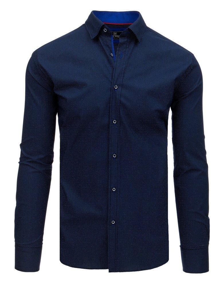 Košeľa s dlhým rukávom námornícka modrá