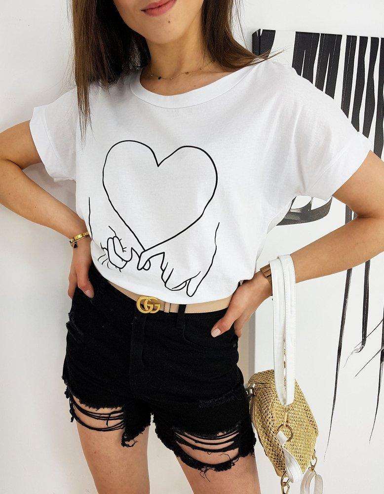Biele dámske tričko LOVE HAND RY1558