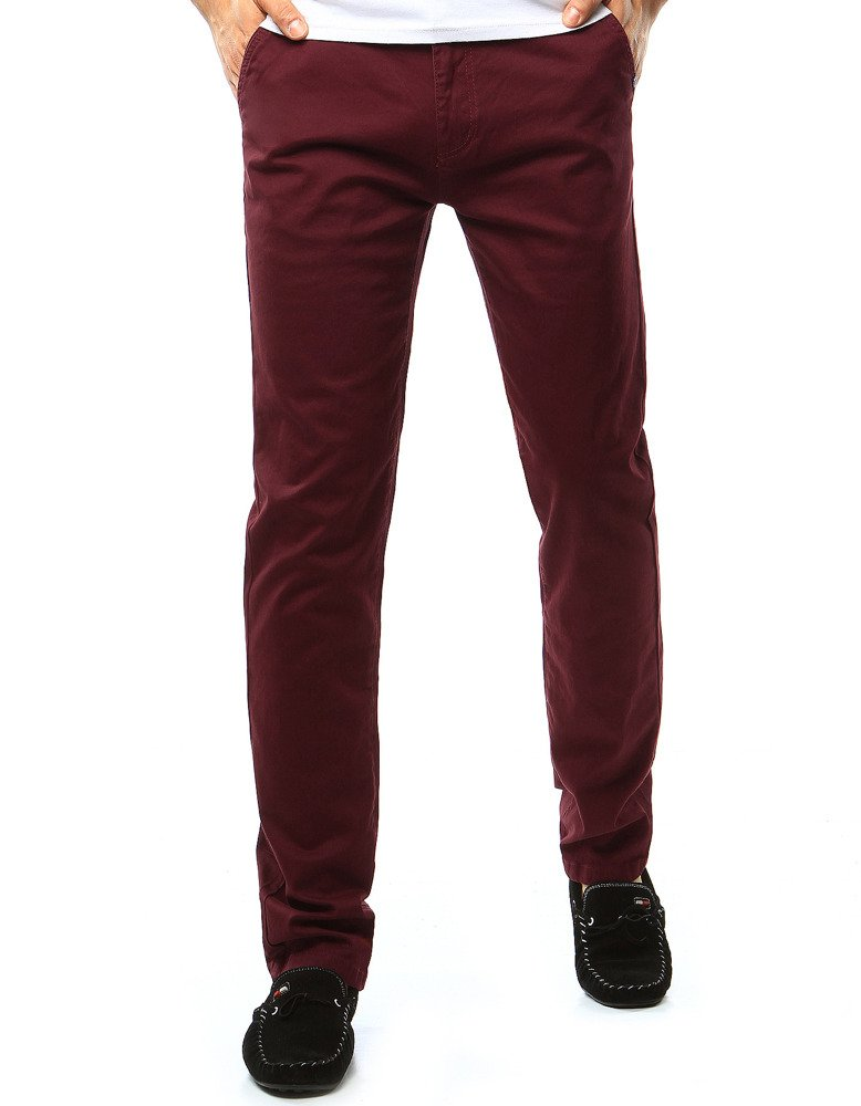 Spodnie męskie chinos bordowe UX1091