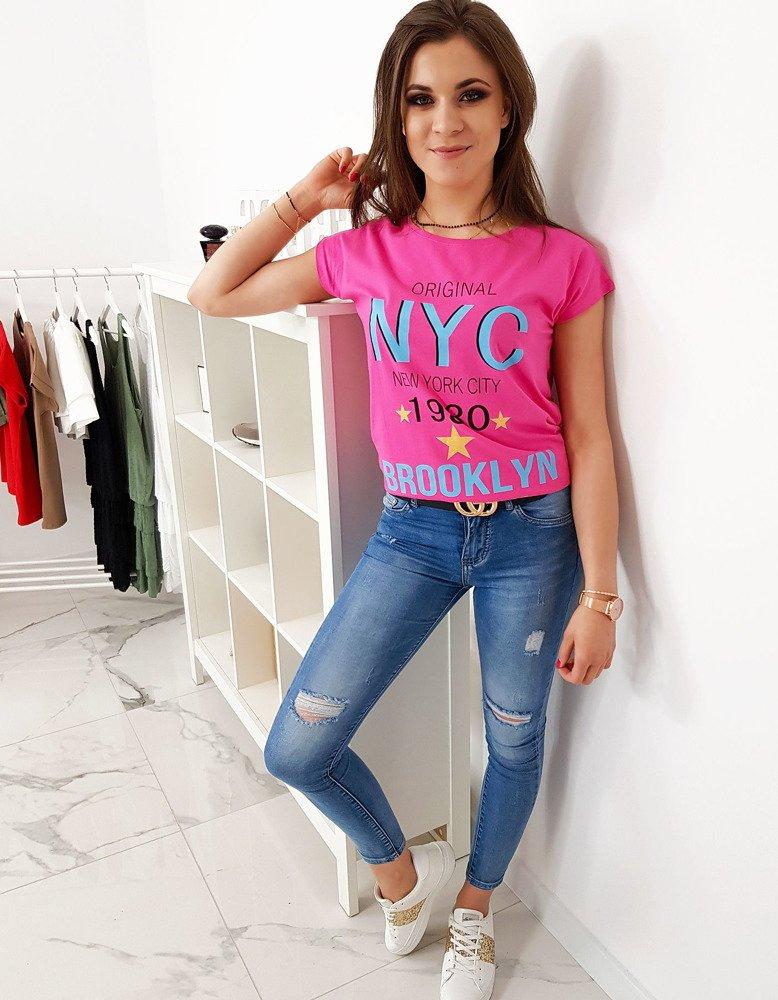 T-shirt damski z nadrukiem różowy RY1007