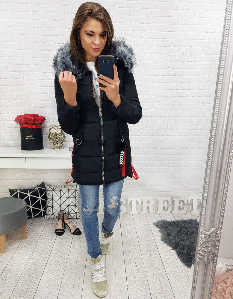 Zimná čierna dámska bunda (ty0485)