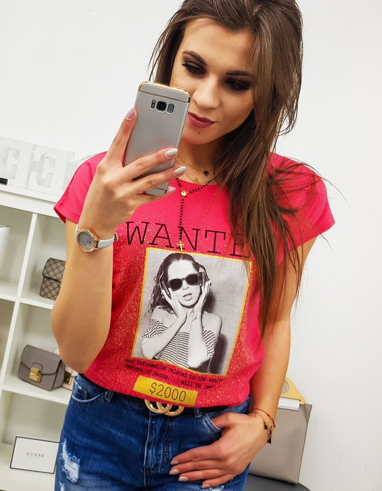 T-shirt damski WANTED z nadrukiem malinowy RY0826