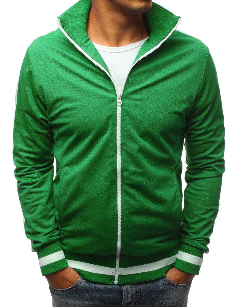 Zelená pánska mikina na zapínanie (bx3916)