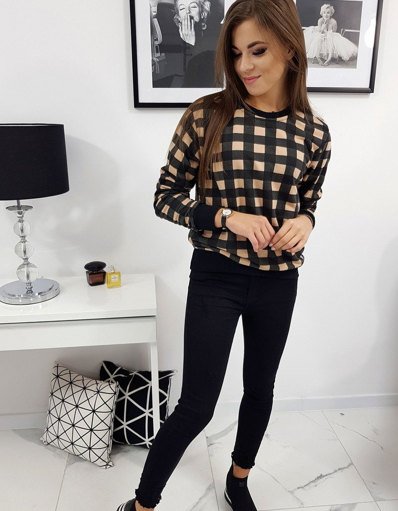 Bluza damska CHECK beżowo-czarna w kratkę BY0206