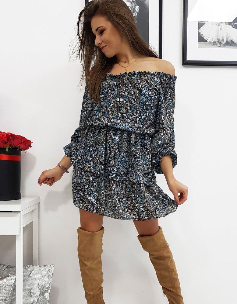 Romantické dámske modré šaty HARMONY so vzormi (ey0431)