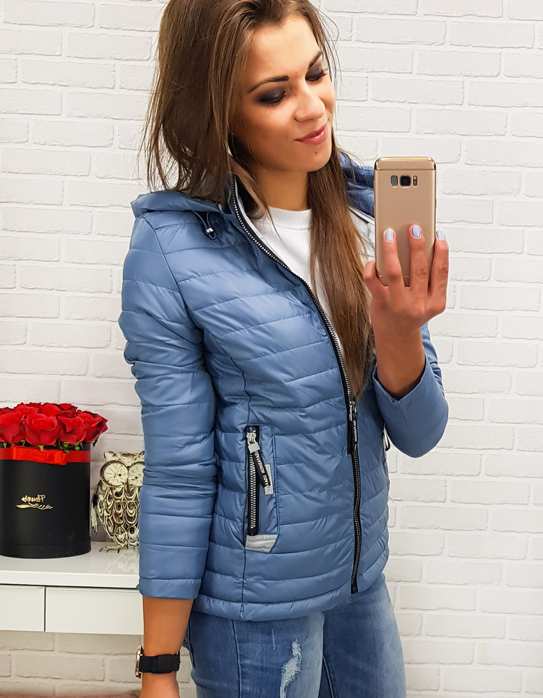 Modrá dámska bunda s kapucňou (ty0206)