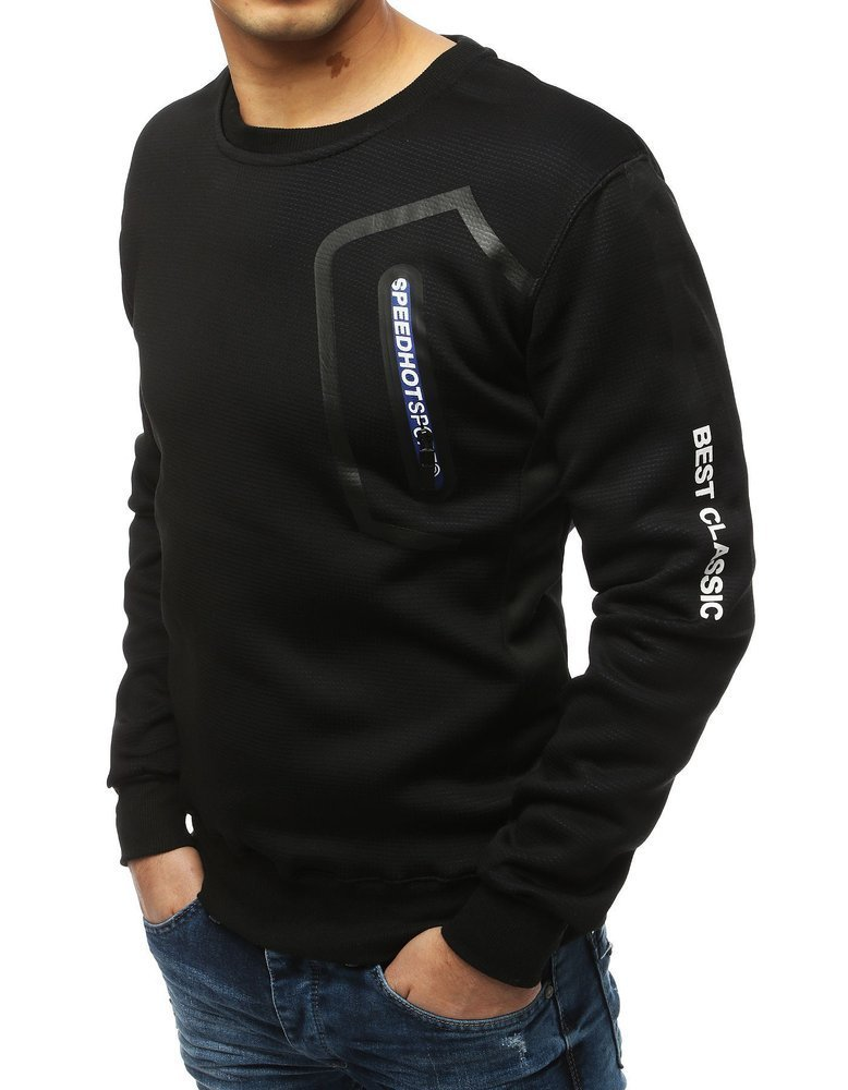 Pánska čierna mikina bez kapucne (bx4254)
