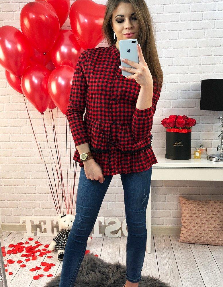 Koszula Nomi w kratkę czerwono-czarną z falbanką (dy0123)