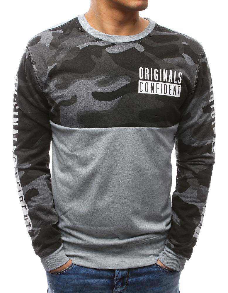 Pánske tričko s podtlačou camo šedé