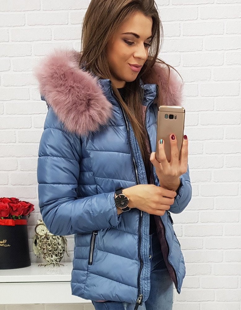 Modrá dámska bunda na zimu (ty0428)