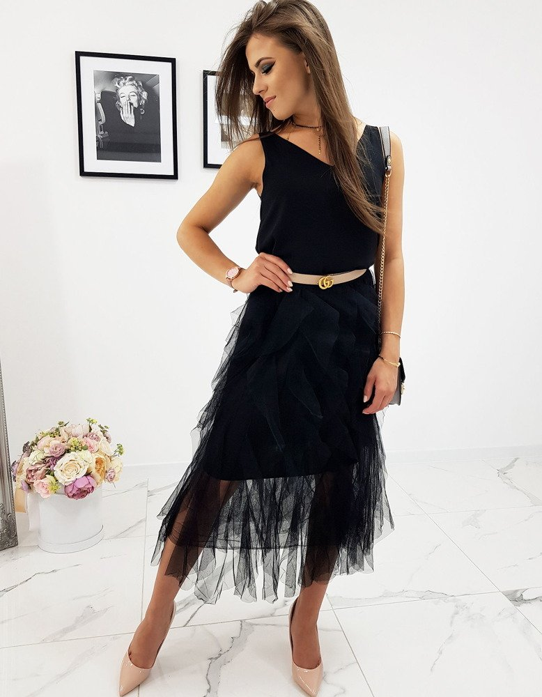 Dwuwarstwowa spódnica czarna CY0197