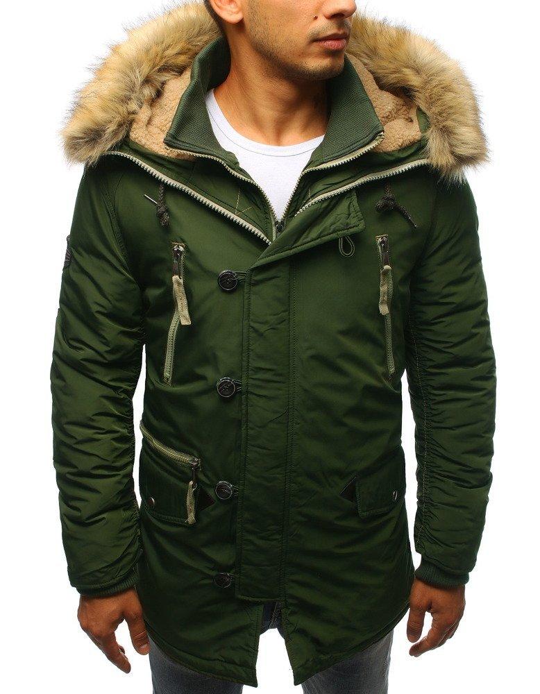 Pánska zimná bunda s kapucňou zelená