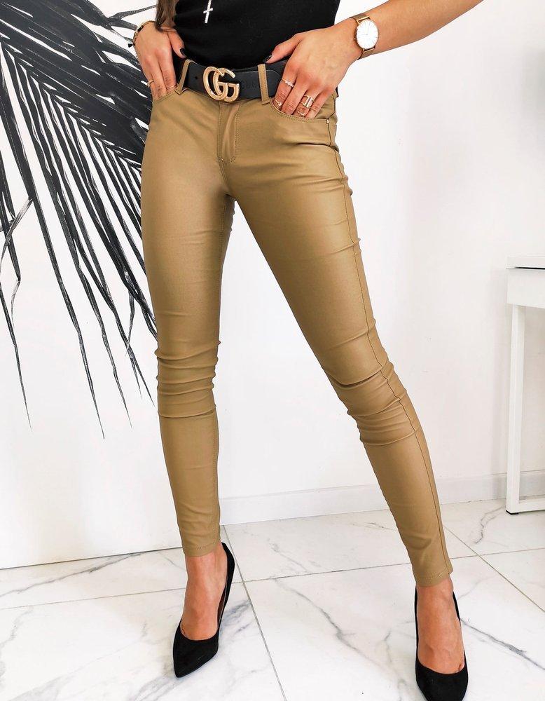 Spodnie damskie woskowane Skinny Fit STREYSON kamelowe UY0596
