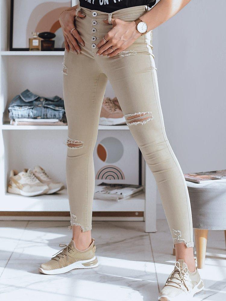 Spodnie damskie jeansowe VINNE beżowe UY0777