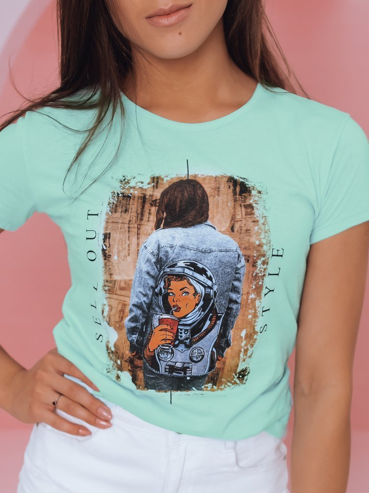 T-shirt damski OUT STYLE miętowy Dstreet RY1775