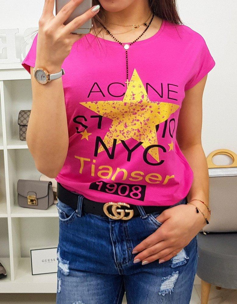 T-shirt damski STAR z nadrukiem różowy Dstreet RY0868
