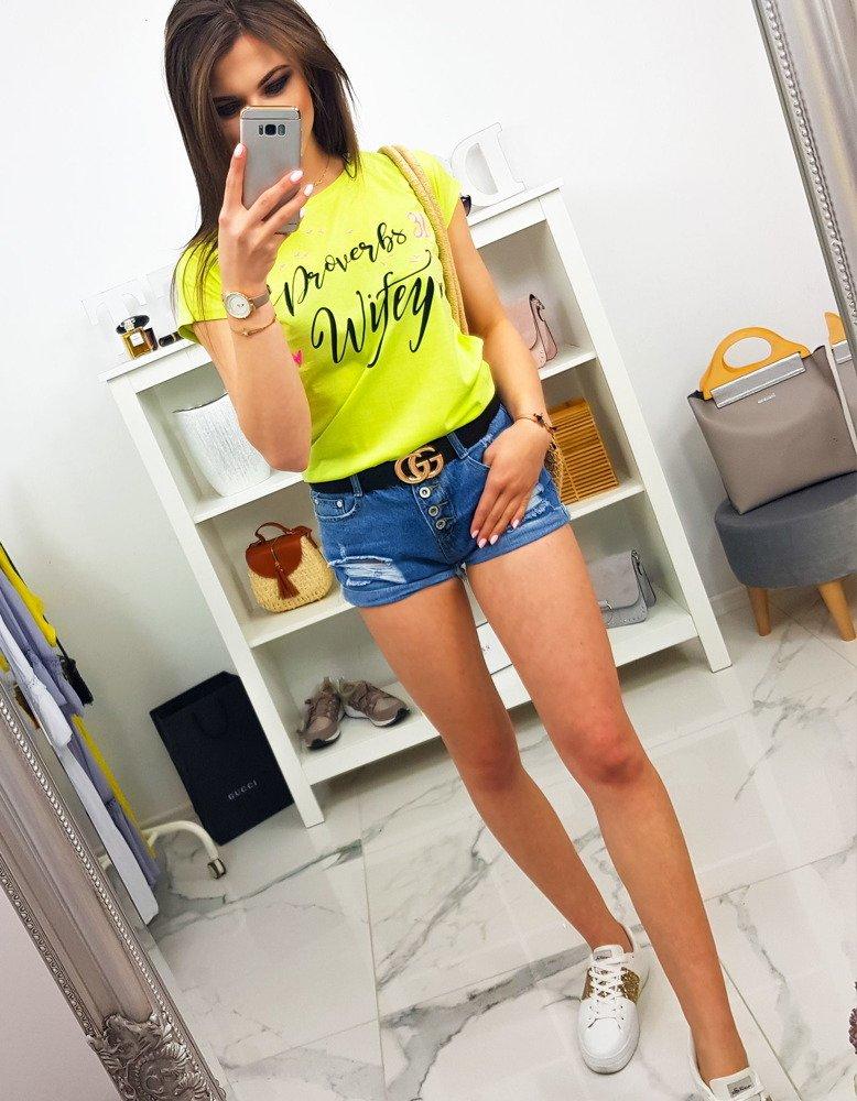 T-shirt damski z nadrukiem limonkowy (ry1068)