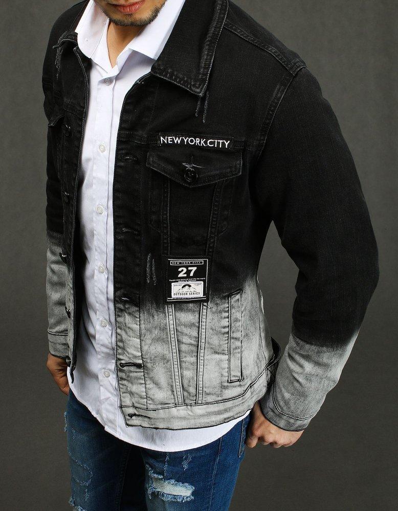 Panská riflova bunda čierno/šedá