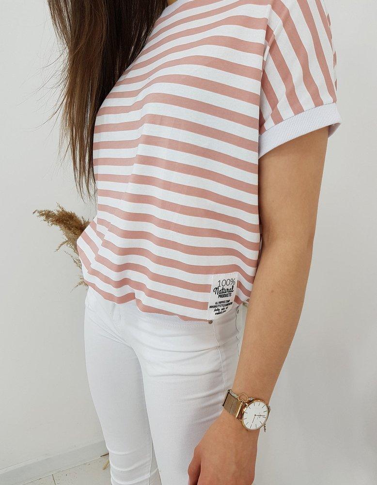 T-shirt damski NATURAL różowy RY1542