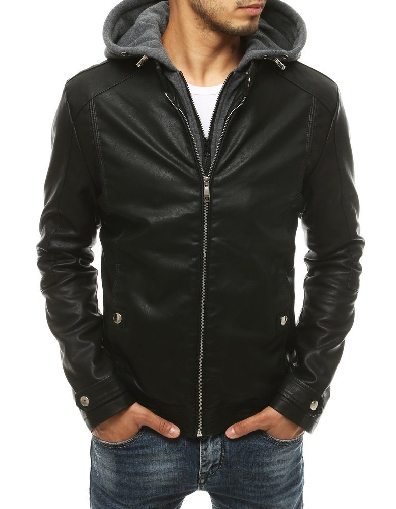 Čierna koženková bunda s kapucňou TX3396