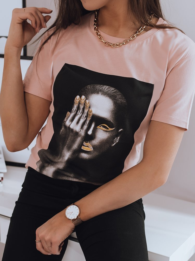 T-shirt damski GOLD WOMEN różowy Dstreet RY1660