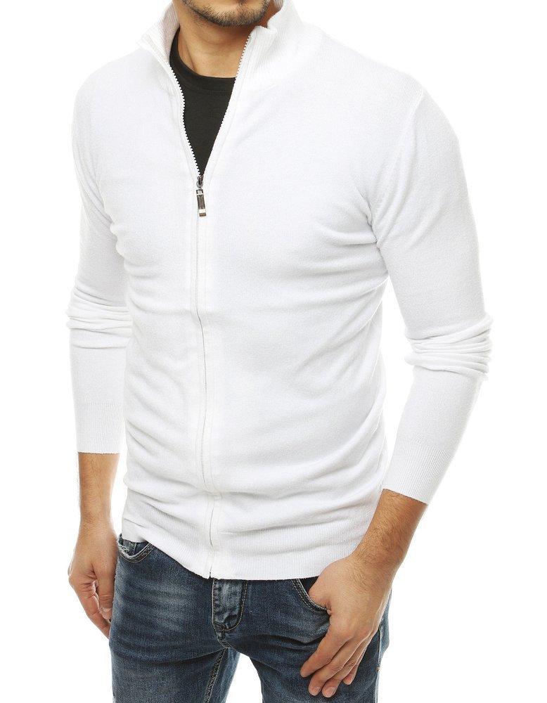 Pánsky biely sveter so zapínaním na zips WX1525