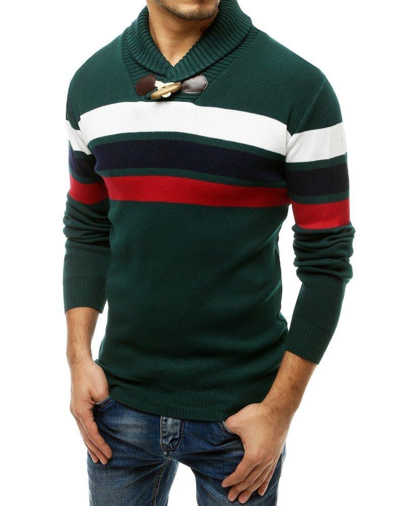 Pánsky zelený sveter s vysokým golierom WX1556