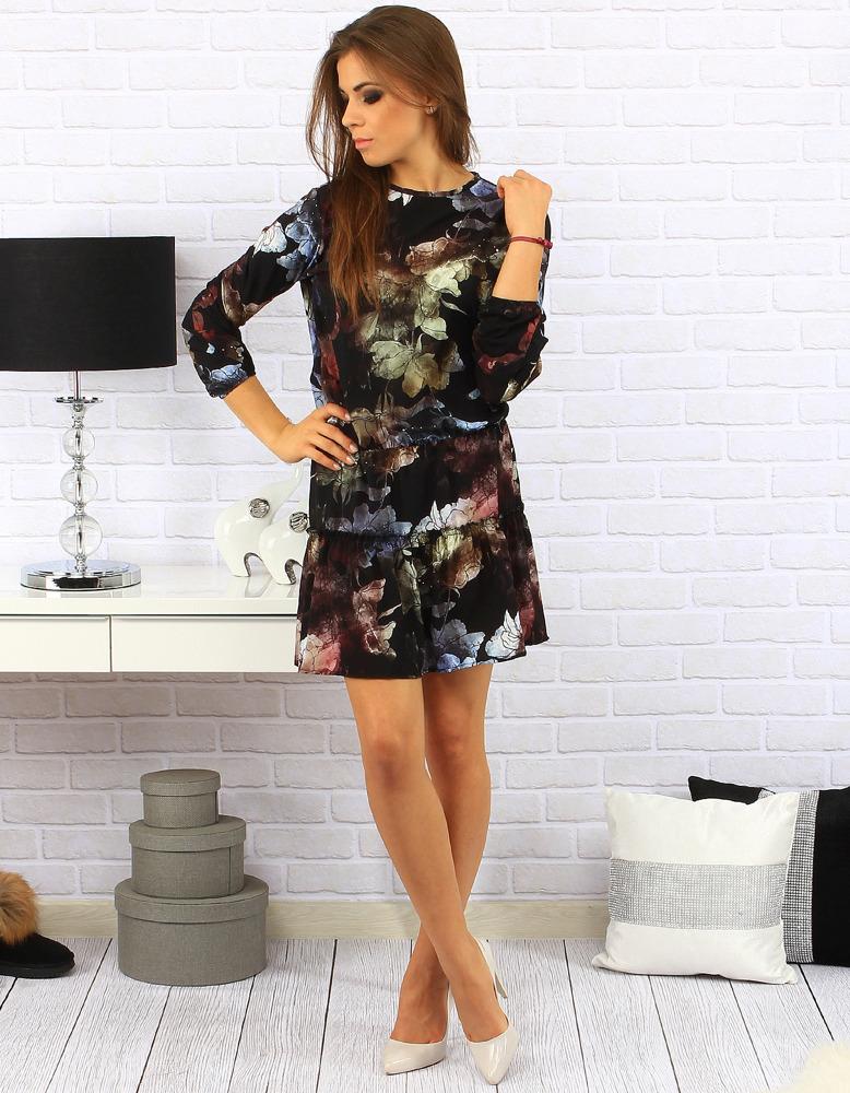 Sukienka Adele czarna w kwiaty (ey0162)