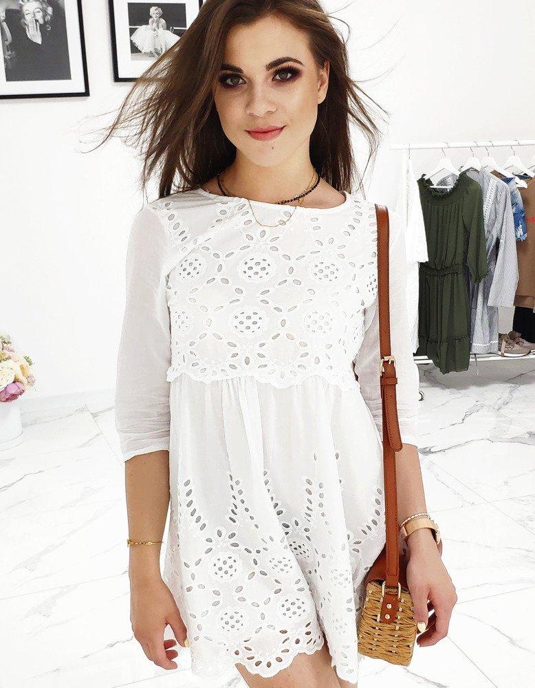 Pekné dámske biele šaty HARMONY 2 (ey0813)