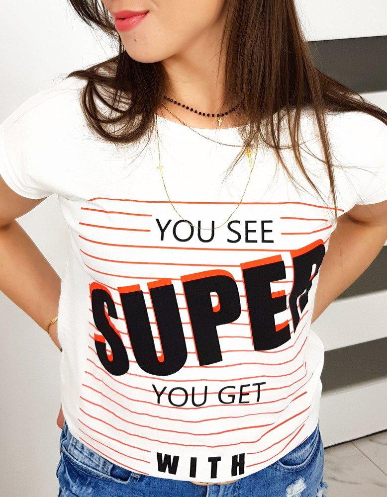 T-shirt damski z nadrukiem śmietankowy RY0988
