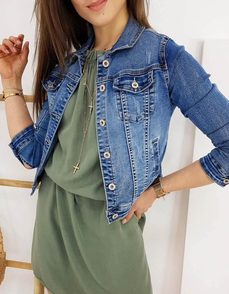 Kurtka damska jeansowa MARSENIA niebieska TY1253