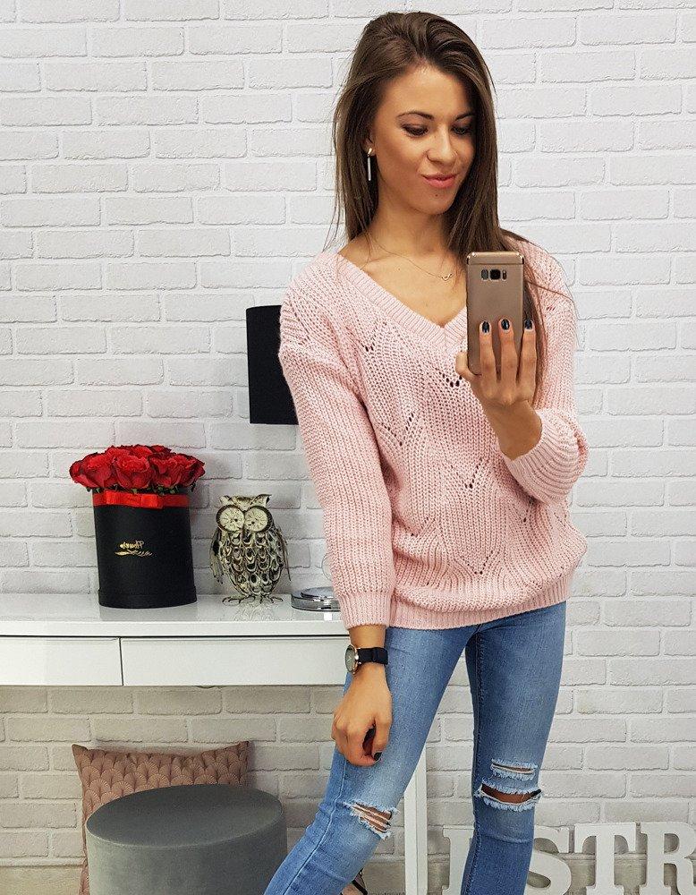 Ružový dámsky sveter (my0452)