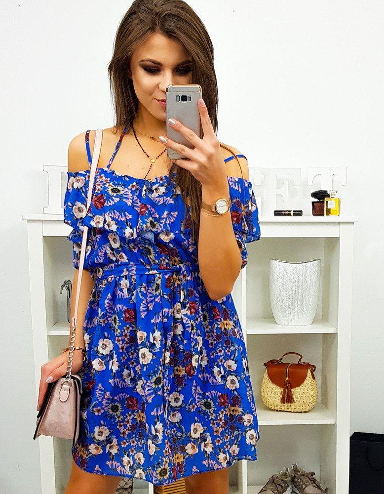 Modré dámske šaty v štýlovom prevedení (ey0862)
