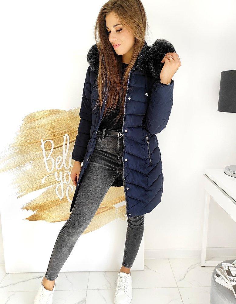 Prešívaný kabát modrý