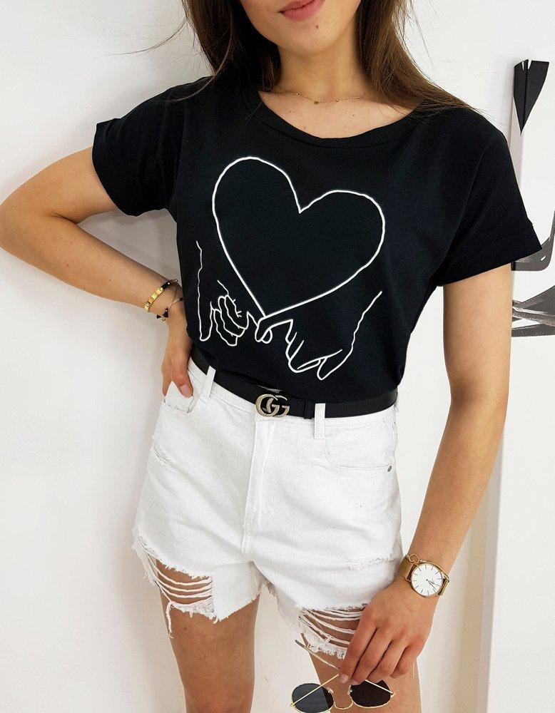 T-shirt damski LOVE HAND czarny RY1559