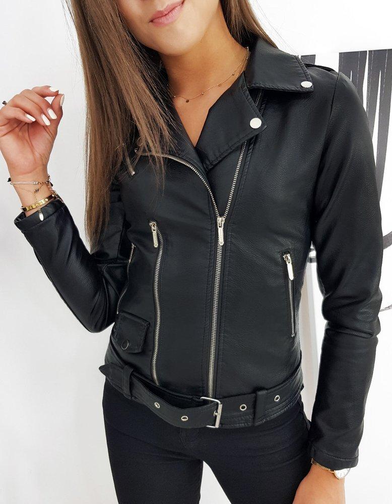Dámska čierna koženková bunda VILLA TY1266